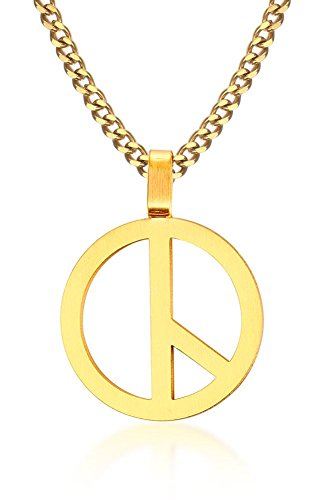MP Stainless Steel Peace Sign Charm Pendant Anti-War Peaceful Love Necklace Gold,Free Chain (Peace Gold Necklace)