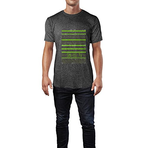 SINUS ART® Geometrischer Ethno Print Herren T-Shirts in dunkelgrau Fun Shirt mit tollen Aufdruck