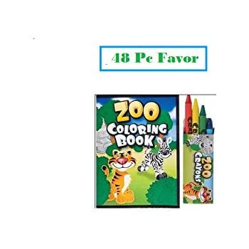 Amazon.com: 12 Sets Of Zoo Mini Coloring Books and Crayons - Zoo ...