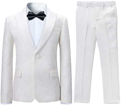 d142de25838f Boyland Boys Tuxedo Suits Ivory Jacquard White Peak Lapel Floral Slim Fit  Wedding Jacket Pants Party