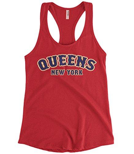 Cybertela Women's Queens New York NY Racerback Tank Top (Red, X-Large) -