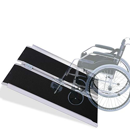 - VI-CO 3' Single Fold Portable Aluminum Wheelchair Ramp, Non-Skid Scooter Ramp with Carry Handle, 600 lbs Capacity