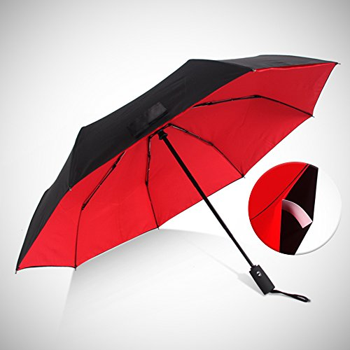 Haomax Travel Windproof Umbrella,Auto Open and Close with Teflon Coating,Double Canopy Construction Folding Compact Umbrellas for man/woman(Red,27)