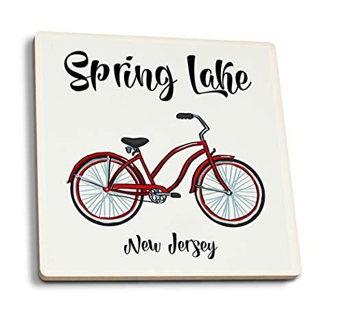 (Spring Lake, Jersey - Beach Cruiser - Icon (Set of 4 Ceramic Coasters - Cork-Backed,)