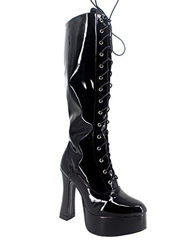 Wonderheel chunky high heel cosplay patent platform langschaft stiefel knee high boots