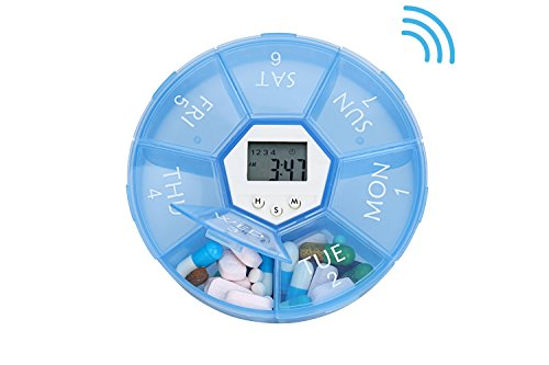 Pill Box With Alarm (OasisSpace Weekly Pill Organizer, Large Electronic 7 Day Pill Box with 4 Alarm Reminders - Digital Lightweight Vitamin Fish Oil Travel Containers - Deep Compartments Daily Pill Planner Box)