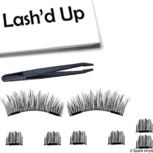 Lash'd Up Magnetic Eyelashes Full Eyes Natural Look Grade A+ Silk [No Glue] Child Cancer Partner 2 Magnets Reusable False Lashes | i woke up this way (The Best Magnetic Eyelashes)