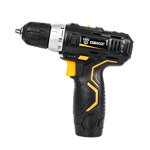DEKO DARK KNIGHT 12V Lithium-Ion Cordless Drill/Driver 3/8-inch Chuck 2-Speed Max Torque 32N.m 18+1 Position with LED, 100-240V Charger with Advanced Battery Cell