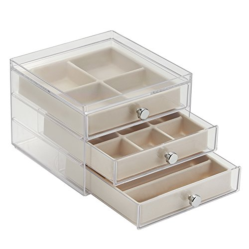 InterDesign 3 Drawer Jewelry Earrings Necklaces Bracelets Organizer Holder Box, Clear/Ivory Clinique Eye Lip Gloss