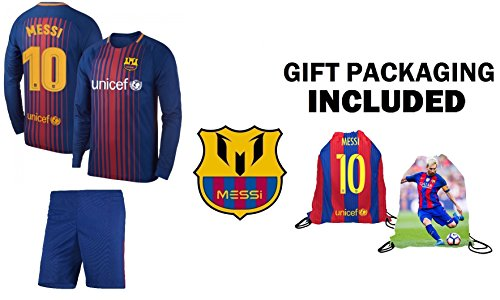 Jersey Kit (Fan Kitbag Messi #10 Barcelona Youth Home Long Sleeve Soccer Jersey & Shorts Kids Premium Gift Kit ✮ BONUS Messi #10 Picture Backpack (Long Sleeve, YM 8-10 Years Old))