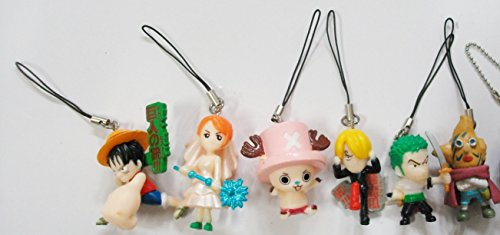 6 pc Anime One Piece Luffy Zorro Sanji Chopper Nicole Nami Cell Phone Charm Strap Set (Vampire Knight Phone Charm)