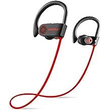 Ear hanging sport headphone stereo wireless bluetooth headest dual-in-ear bass IPX7 seven waterproof (Red)