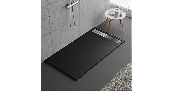 Plato de ducha negro, diseño moderno, modelo Malaga, de mármol y ...