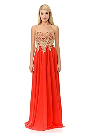 TwinMod Strapless Sweetheart Gold Applique Long Chiffon Prom Bridesmaid Dress (Medium, Red)