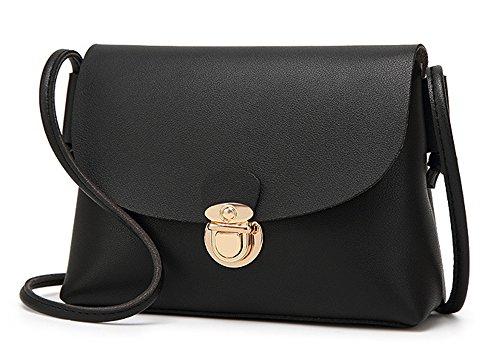 La mujer Xinmaoyuan Bolsos Bolso Bolso Messenger patrón lichi Pu Color sólido paquete Shell?Brown Negro