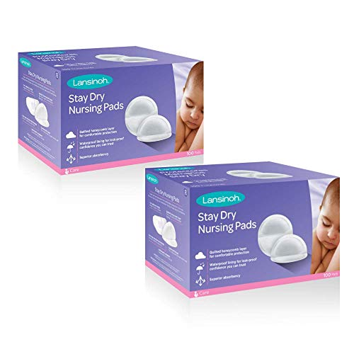 Lansinoh Stay Dry Disposable Nursing Pads, 100 Count (Pack of 2) ()
