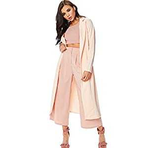 GUBA Big Girls' Long Sleeve Long Line Collared Duster Coat Jacket Top 10 Peach