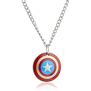 Marvel Comics Boys' Stainless Steel Captain America Shield Chain Pendant Necklace, 16″