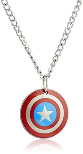 America Pendant Jewelry - Marvel Comics Boys' Stainless Steel Captain America Shield Chain Pendant Necklace, 16