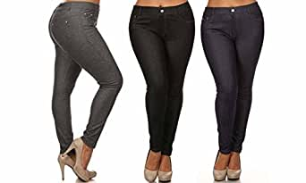 Women's Plus Size Cotton Blend Stretchy Jeggings With 5 Pockets (XL, Black/Grey/Navy)