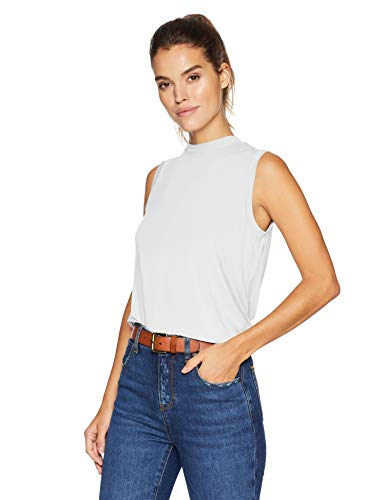 Daily Ritual Women's Jersey Sleeveless Boxy Mock-Neck Shirt, White, X-Large