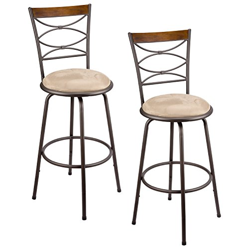 Revel Avery 30' Adjustable Swivel Barstool w/ Real Wood Accent Back - Set of 2, Bronze Metal Finish, BS1969044-BZ-S2