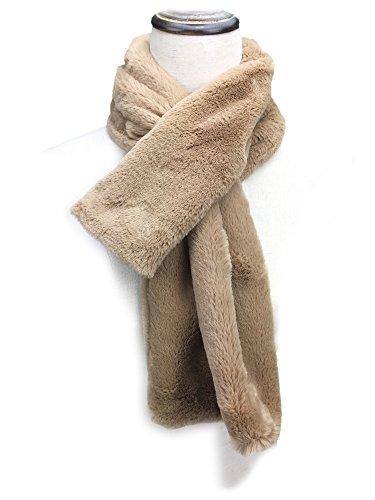 Brown Color Fur (YOUR SMILE - Premium Solid Color Long Rectangle Faux Fur Warm Soft Furry Wrap Around Loophole Scarf (Brown / Fur))