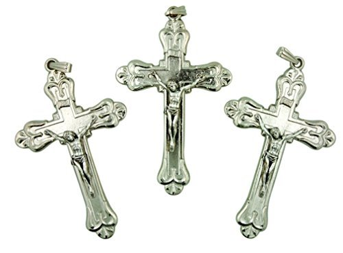 Lot of 3 Silver Tone Crucifix 2 1/2 Inch Fancy Cross Pendant for Rosary - Set Crucifix