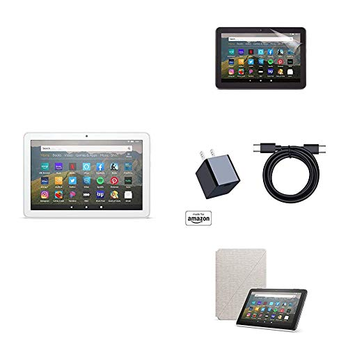 Fire HD 8 Essentials Bundle including Fire HD 8 Tablet (White, 32GB) Ad-Supported, Amazon Standing Case (Sandstone White), and Nupro Anti-Glare Screen Protector, and 15W fast charger