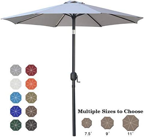 ABCCANOPY 9 Patio Umbrella Table Market Umbrella with Push Button Tilt for Garden, Deck, Backyard and Pool, 6 Ribs 13 Colors,Light Gray