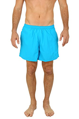UZZI Men's Long Basic Active Shorts Activewear Trunks NEON Blue (Small) ()