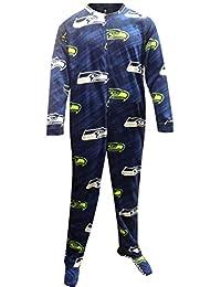 Concept Sports Men's Seattle Seahawks Navy Blue One Piece Footie Pajama