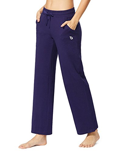 Baleaf Women's Activewear Drawcord Yoga Lounge Pants with Pockets Navy Blue Size XXL