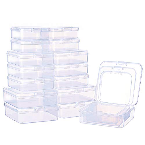 (BENECREAT 27 Pack Mixed Size Square Mini Clear Plastic Bead Storage Containers Box Case with lid for Items,Pills,Herbs,Tiny Bead,Jewerlry Findings, and Other Small Items)