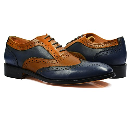 Full Brogue Oxford in Brown and Navy, All Leather by Paul Malone (Welted Shoe Brogue)