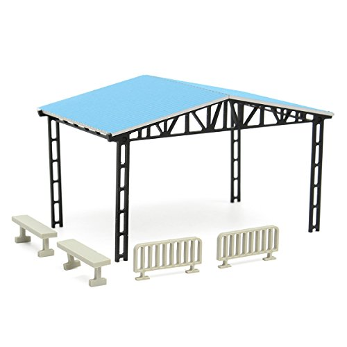 HITSAN Model Layout Building Parking Shed With 2 Fences 2 Benches HO Scale 1:87 Kit One (Benches Ho Scale)
