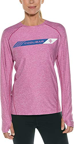 Coolibar UPF 50+ Women's Long Sleeve Fitness Graphic Tee - Sun Protective (Medium- Bold Berry)