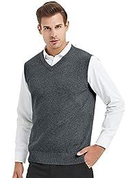 Mens Business Solid Color Plain Sweater Vest, Cotton Fit Casual Pullover