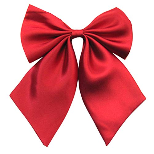 FEOYA Lady Adjustable Pre-tied Bow Tie Collection Solid Color Bowties for Women Wine Red