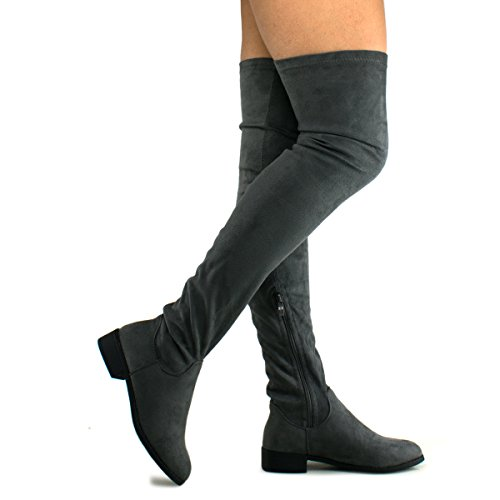 Premier Standard Damen Kniehohe Stretch Boot - Trendy High Heel Schuh - Sexy Overknee Pullon Boot - Komfortable Easy Heel Graue Su