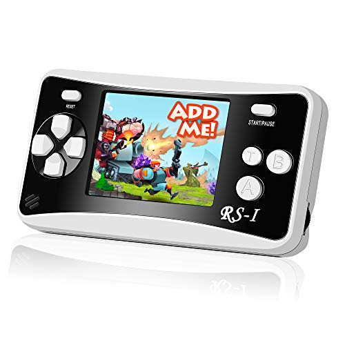 """Mademax RS-1 Handheld Game Console, Classic Retro Game Player with 2.5"""" 8-Bit LCD Portable Video Games, Built-in 152 Old School Games Entertainment, Birthday Presents for Children - Black"""