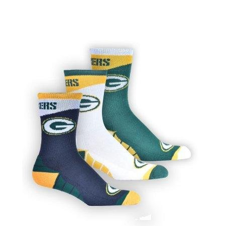 NFL Officially Licensed Team Apparel 3-Pack Crew Socks Unisex (Green Bay Packers)