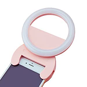 iSelfy Selfie Ring Light, Baby Pink, Portable Clip-on LED, Rechargable, Natural Supplementary Lighting with 3 modes, for Smartphones iPhone or Samsung