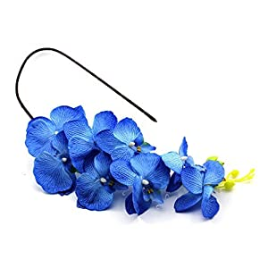 VANKER 1Pc Blue- Artificial Butterfly Orchid Silk Flower Home Wedding Party Decoration 95