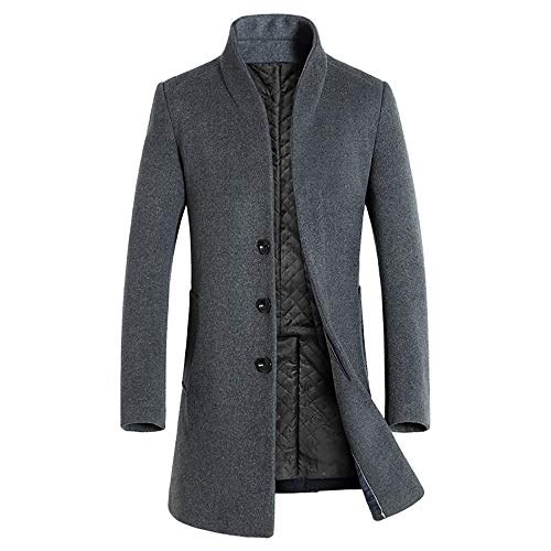 Grey Wool Henley Sweater - Clearance Forthery Men's Trench Coat Winter Long Jacket Double Breasted Overcoat(Grey, US Size XL = Tag 2XL)
