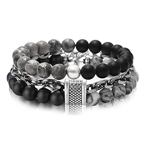 Mens Stainless Steel Tigers - FUTTMI 8mm Jasper Stone Tiger Eye Stone Beads Bracelet Stainless Steel Rolo Cable Link Chain Double Bracelet for Men Boys