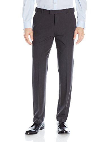 Van Heusen Men's Flex Straight Fit Flat Front Pant, Charcoal, 34W x 30L