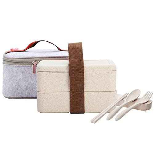 (YBOBK HOME Japanese Bento Box Microwave Safe Lunch Box with Bag and Reusable Flatware Utensils Set Stackable Bento Lunch Box Plastic Wheat Straw Bento Box Dishwasher Safe for Adults (2-Tier, Beige))