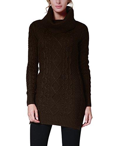 Rocorose Women's Cowl Neck Slit Side Long Pullover Sweater Deep Coffee M