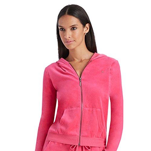Nicki Minaj Womens Velour Full Zip Hoodie (Large, Pink)